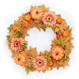 FAVOWREATH 2018 Fall Series FAVO-W25 Handmade 17 inch Halloween Pumpkin Maple Leaf Grapevine Wreath For Season Festival Celebration Memorial Day Front Door/Wall/Fireplace Floral Hanger Home Decor