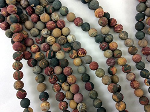 Natural Red Creek(Picasso) Jasper 8mm Matte Finished Round Beads, Full Strand G52218 (Red Jasper Creek)