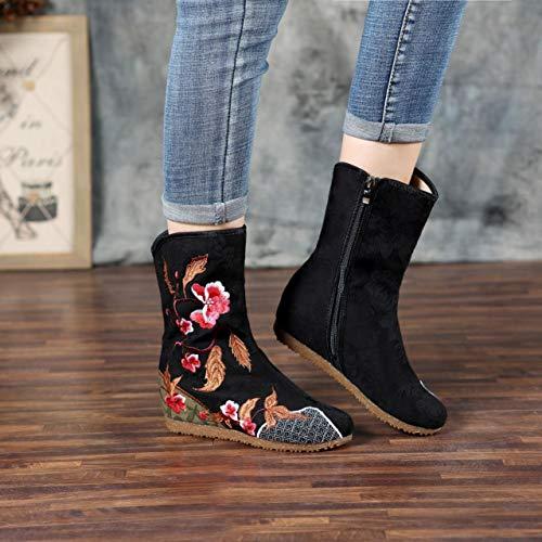 Zapatos Plana Yan 3 Vez Un Bordado Cada Mujer Mayor Otoño Cm Botas Lateral Moda Solo Flor Media Retro Altura De Dama Cremallera dZPBgZ