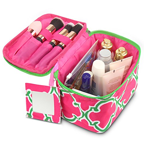 Zodaca Lightweight Travel Cosmetic Organizer Bag, Pink Quatrefoil