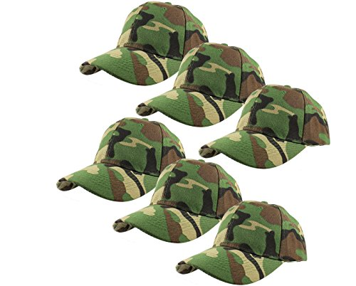 (Gelante Plain Blank Baseball Caps Adjustable Back Strap Wholesale Lot 6 Pack - 001-Camo-6Pcs)