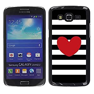 Paccase / SLIM PC / Aliminium Casa Carcasa Funda Case Cover para - Stripes Horizontal Love Black White - Samsung Galaxy Grand 2 SM-G7102 SM-G7105