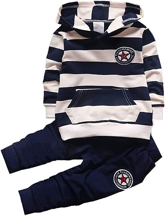 BibiCola Baby boy Clothes Cute Boys Kids Clothes Clothing for Children Hoodies Striped Tops+Pants 2pcs