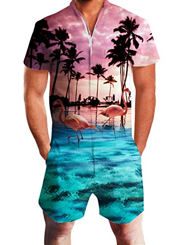 Uideazone Fashion Summer Palm Tree Flamingos Hawaiian Short Sleeves Romper Outfits for Men,Flamingos,Large]()