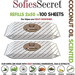SofiesSecret Pet Wipes for Dogs+Cats, 100XL Wipes (2x50), Coconut Oil, All in ONE Grooming, 100% Natural Oils & Extracts, Extra Thick, Ultra Soft, Extra Large, Cruelty Free & Vegan