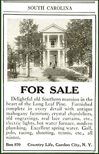 1919 AD for Sale of Long Leaf Pine Southern Estate Original Paper Ephemera Authentic Vintage Print Magazine Ad/Article ()