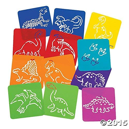 Dinosaur Favor Treat Pack with 24 Dino Themed Pencils and 12 Assorted Plastic Dinosaur Stencils