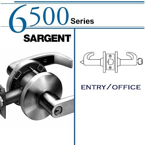SARGENT 28-65G05-KL-26D OFFICE CYLINDRICAL LOCK: 6500 SERIES,SATIN CHROME by Sargent
