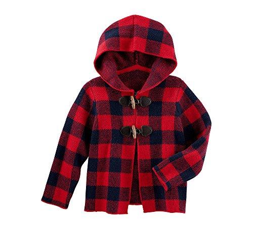 OshKosh B'Gosh Girls' 2T-4T Hooded Plaid Cardigan 2T