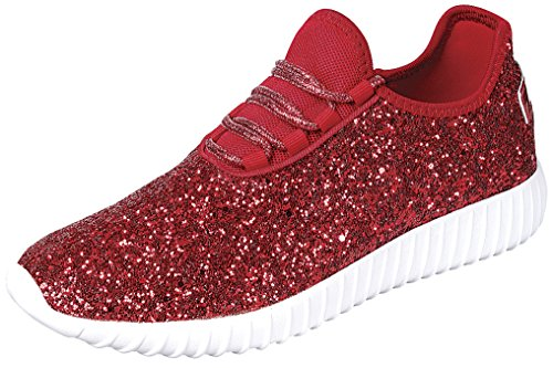 Up Toe Encrusted Casual Cambridge Select Red Fashion Sneaker Closed Lace Women's Glitter Sport Ww0xWBZ1q6