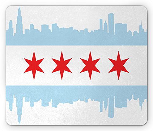 - Ambesonne Chicago Skyline Mouse Pad, City of Chicago Flag with High Rise Buildings Scenery National, Standard Size Rectangle Non-Slip Rubber Mousepad, Red White Baby Blue