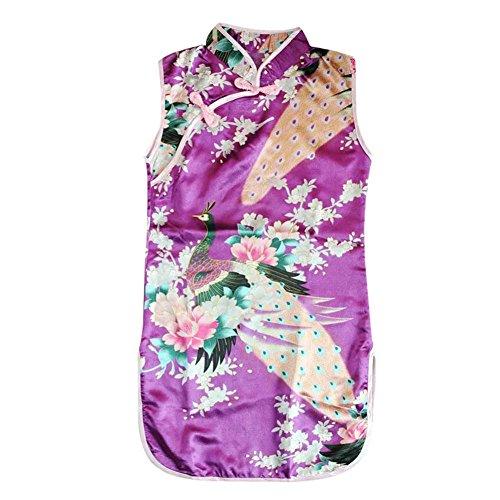 Weixinbuy Kid Girls Sleeveless Peacock Printed Chinese Cheongsam Dress Purple