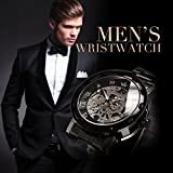 Watch,Mens Watch,Luxury Classic Skeleton Mechanical Stainless Steel Watch with Link Bracelet,Dress Automatic Wrist Hand-Wind Watch