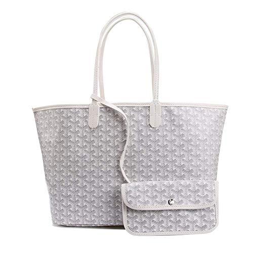 Stylesty Fashion Shopping PU Tote Bag, Designer Shoulder Handbags with Key Ring … (Medium, White1) by Stylesty (Image #6)