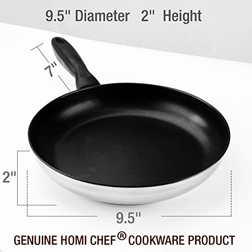 "HOMI CHEF 9.5"" Mirror Polished Stainless Steel Nonstick Omelette Pan/Frying Pan (Non Toxic PFOA FREE Nonstick Coating) NICKEL FREE Stainless Steel nonstick Fry Pan/Skillets for Stovetop & Ceramic"
