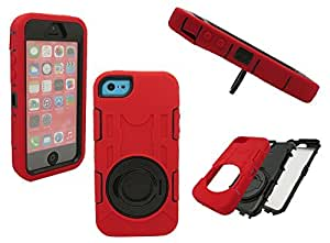 IPHONE 5 SHOCKPROOF CASE, Mobile King USA iPhone 5/5s/5c Shockproof Wrap up High Impact Rugged Case with Ring Kick up Stand (Red/Black)