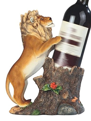 GSC StealStreet Curious Lion and Tree Stump Wine Holder, ...