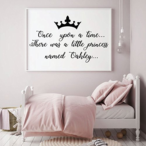 Personalized Once Upon a Time Wall Decal with Crown Vinyl Design for Girls Room, Bedroom, Playroom or Nursery Decor