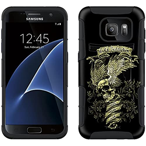 Samsung Galaxy S7 Armor Hybrid Case Skull Wing Green on Black 2 Piece Case with Holster for Samsung Galaxy S7 Sales