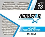 Aerostar Pleated Air Filter, MERV 13, 16x25x1, Pack of 6, Made in the USA