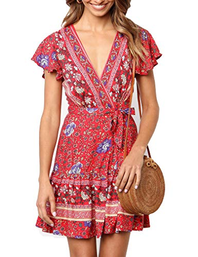 Floral Chiffon Wrap (Naggoo Women's Summer Deep V Neck Printed Ruffle Hem Wrap A Line Mini Dresses with Belt(S, Red Floral))
