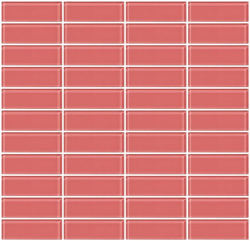 Pink Shell Mosaic (Susan Jablon Mosaics - 1x3 Inch Coral Pink Glass Subway Tile Reset In Stacked)