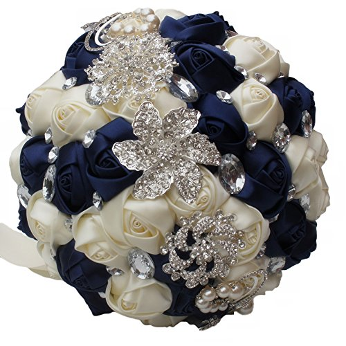 DOTKV Wedding Bouquet, Artifical Rose Posy with Satin Jeweled Throw Bouquet, Bridesmaid Holding Flowers,Wedding Guardian, Wedding Memories Forever (Blue) ()