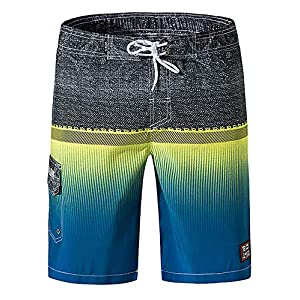 Mens Quick Dry Board Shorts Swim Trunks with Beach Lining Colorful Board Short
