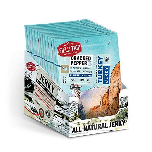 Field Trip Gluten Free, High Protein, Cracked Pepper Turkey Jerky, 1oz Bag, 12 Count