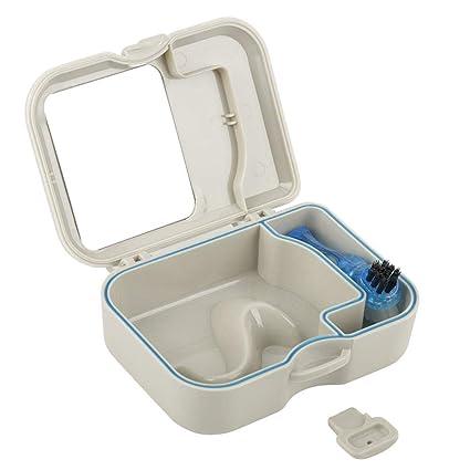Estuche para dientes falsos de la caja dental con espejo y cepillo de limpieza de dientes