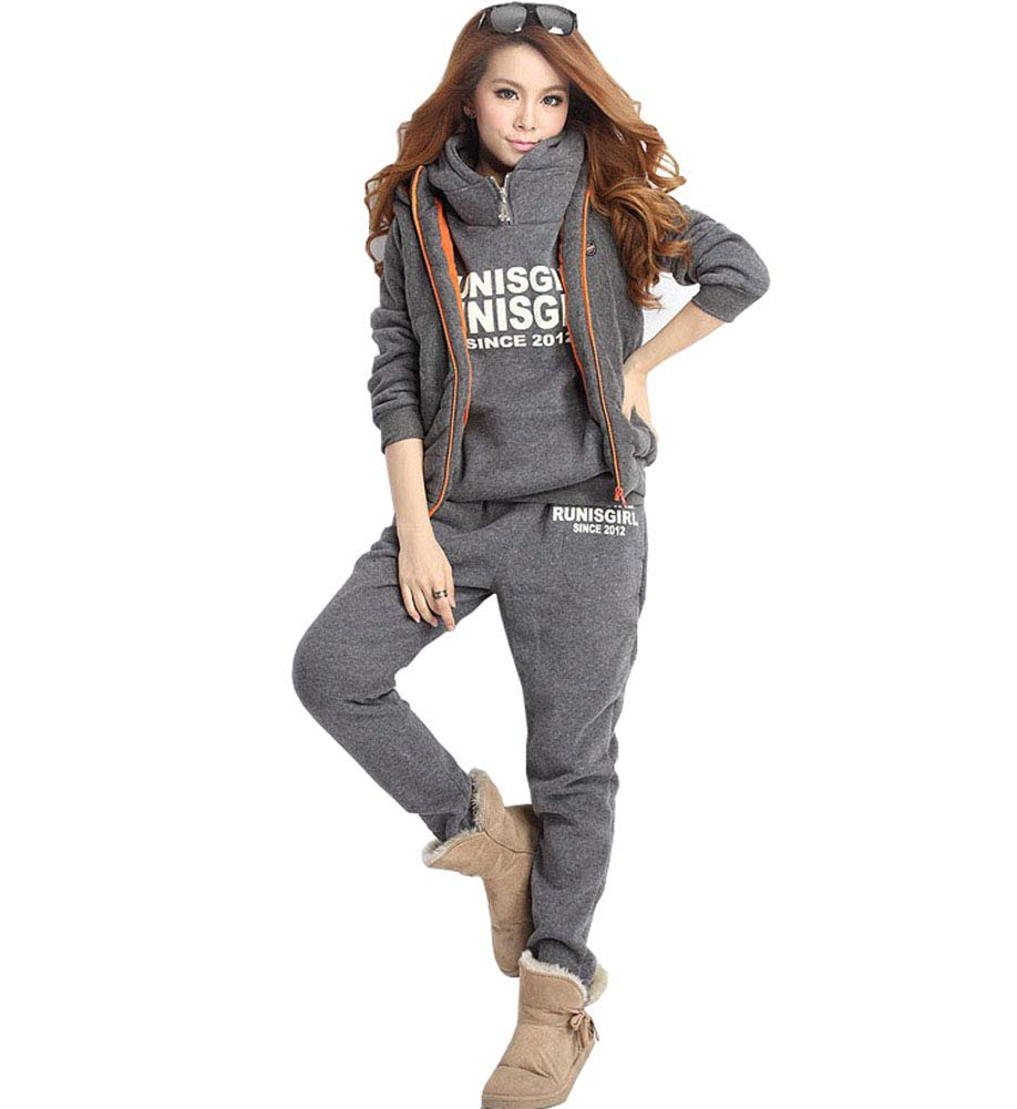 June Women's 3 Pieces Outfits Hooded Sweatsuit Set Tracksuits Plus Size (US 12-14, Grey)
