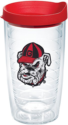 Tervis 1087762 Georgia Bulldogs Bulldog Head Uga Tumbler with Emblem and Red Lid 16oz, Clear ()