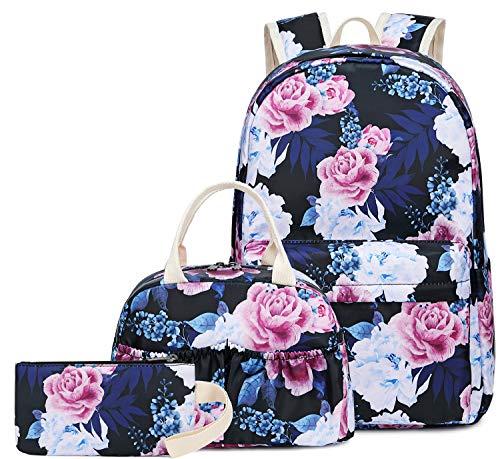BLUBOON Teens Backpack Set Girls School Bags Travel Floral Bookbags 3 in 1