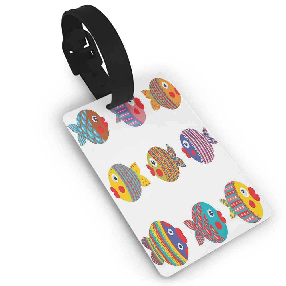 Funny luggage tag,Funny,Round Doodles Spots in Green Tones Spirals Swirled Big Funky Dots Pattern,Holders Zip Seal /& Steel Loops Thick Chocolate Lime Green