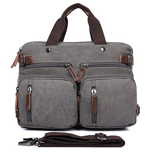 Clean Vintage Laptop Backpack Messenger Bag-Hybrid Briefcase Backpack Vintage BookBag Rucksack Satchel - Waxed Canvas (Vintage Grey Canvas)