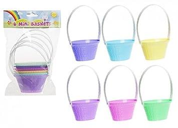 Mini Easter Pastel Multi-colour 6x Mini Easter Egg Plastic Baskets 5x10cm