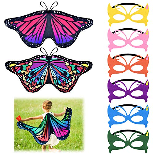 Masquerade Halloween Costumes For Kids (Coopay 9 Pieces Kids Butterfly Costume Fairy Butterfly Wings Masquerade Masks Christmas Halloween Girls Dress Up Pretend)