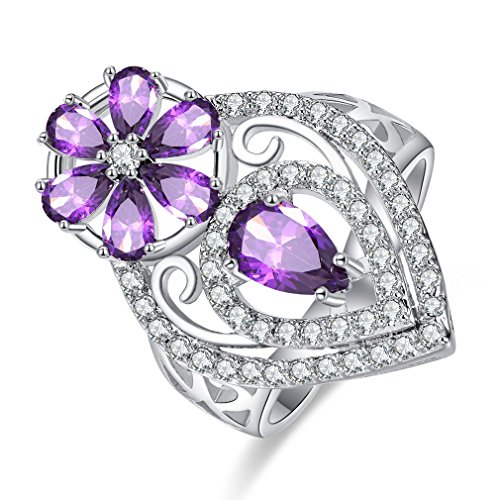 Fashion Rhinestone Flower Ring (YAZILIND Platinum Plated Flower Cubic Zirconia Hollow Water-Drop Rhinestone Women Wedding Ring Size 8)