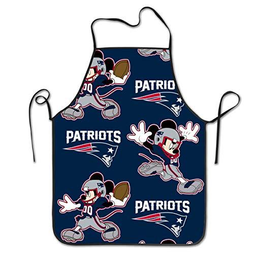 Marrytiny Kitchen Chef Apron New England Patriots Football Team Funny Cartoon Mouse Apron Unisex Kitchen Bib Cooking Women's Men's Baking Gardening