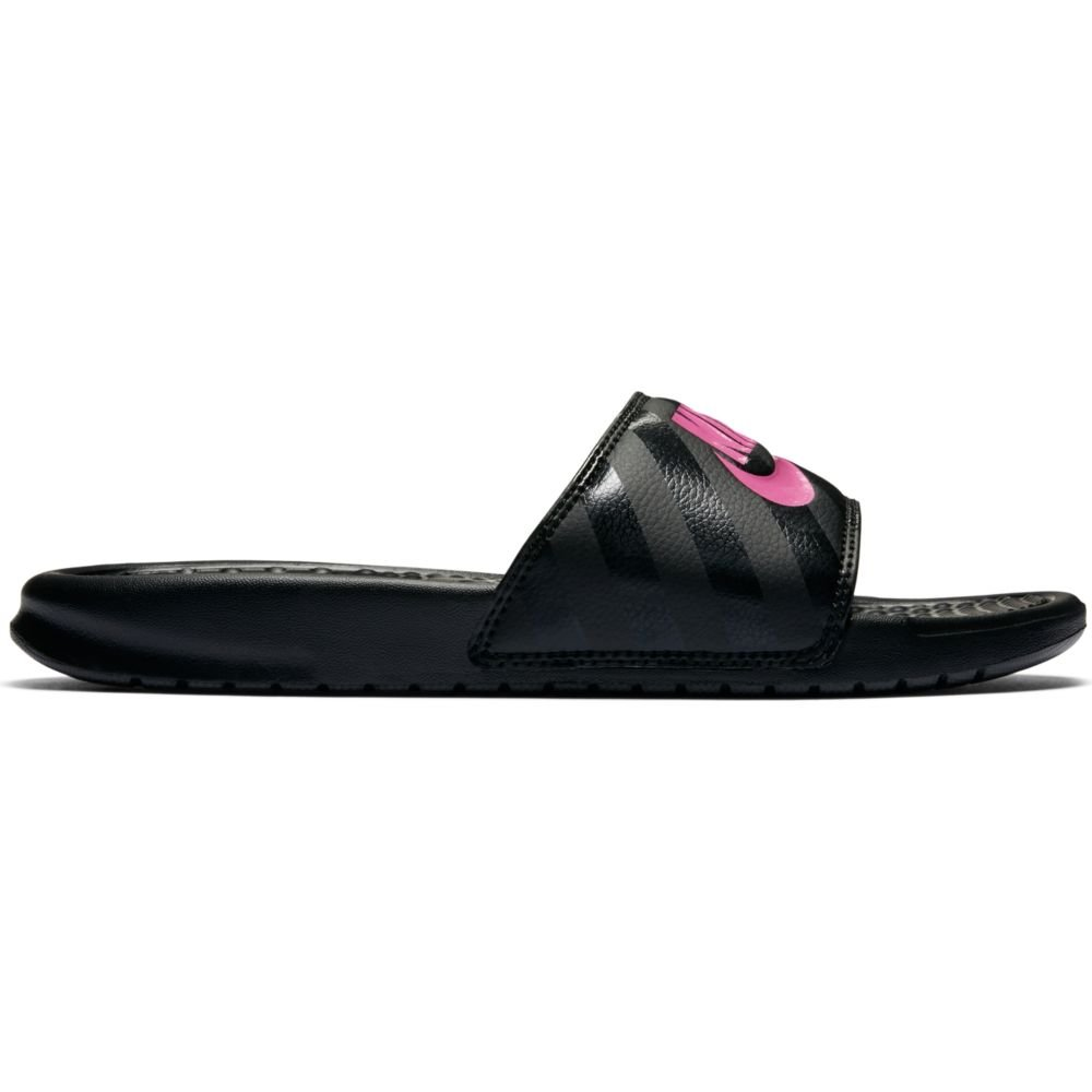 NIKE Women's Women's Benassi Just Do It Athletic Shoe, black/vivid pink - black, 8 Regular US