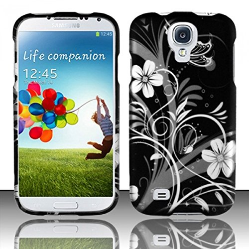White Flowers Design Rubberized - Zizo Samsung Galaxy S4 Protective Cover - Retail Packaging - Rubberized White Flowers Design