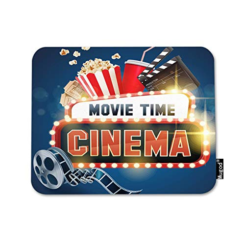 Mugod Cinema Movie Poster Mousepad Popcorn Filmstrip Clapboard Tickets and Movie Time Banner Shining Sign Print Anti-Slip Natural Rubber Gaming Mouse Pad Rectangle Mouse Pads 7.9x9.5 Inches