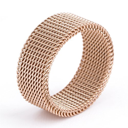 JAJAFOOK 8mm Flexible Stainless Steel Screen Mens Womens Ring, Woven Mesh Band, Rose Gold Heavy Mesh Ring