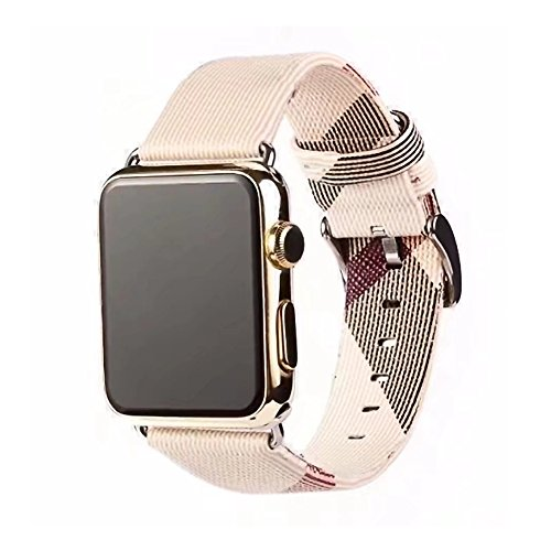(TCSHOW 40mm 38mm Tartan Plaid Style Replacement Strap Wrist Band with Silver Metal Adapter Compatible for Apple Watch Series 4 3 2 1 (M)(Not fit for 42mm/44mm iWatch))