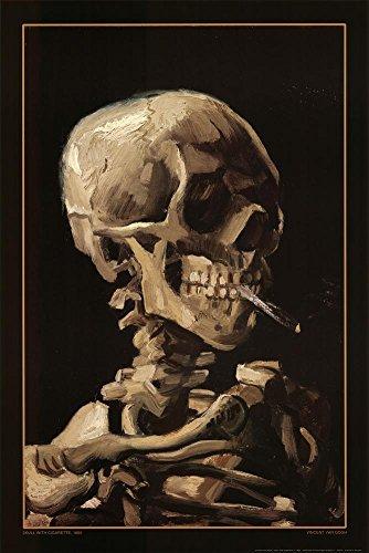 Gogh Skull Cigarette Print Poster