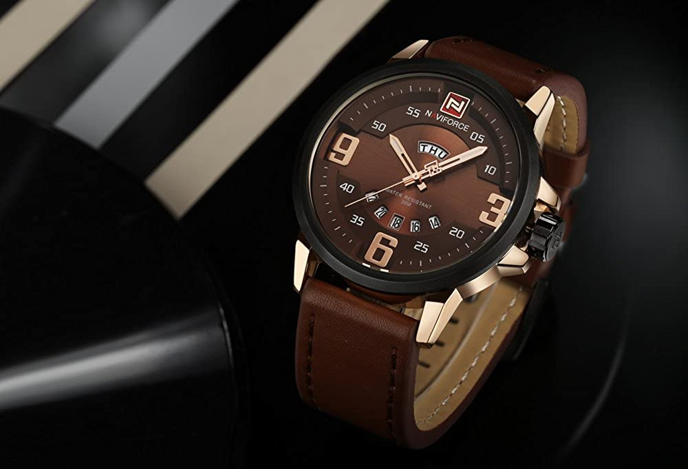 Amazon.com: NX 9086 Mens Watches Top Brand Luxury Sports Watch Men Military Leather Quartz-Watch Waterproof Male Clock Relogio Masculino (Gold Brown): ...