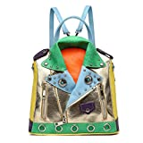 Studded Multi Color Zipper Biker Backpack W/ Adjustable Shoulder Straps