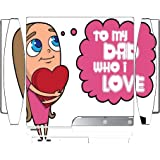 To My Dad Who I Love Fathers Day Gift Cute Girl Holding Heart Image Design Pattern Playstation 3 & PS3 Slim Vinyl Decal Sticker Skin by Trendy Accessories