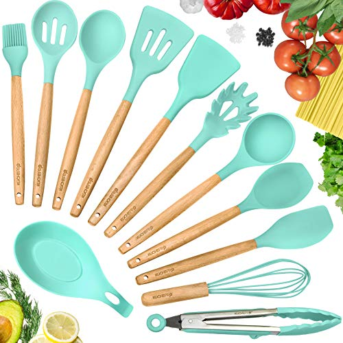 (KuchePro 12-Piece Silicone Kitchen Utensil Set - Premium Natural Beech Wooden Handles with Non-Stick Silicone Heat Resistant Cookware for Cooking and Baking Tools - Green)