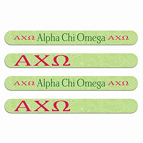 Alpha Chi Omega Nail File (4pk)—Medium & Fine Grit. Durable design. Art stays true with use. Sorority gifts for Big Little Sister, Bid Day, gift baskets, stocking stuffers—by (Sorority Bid Day)